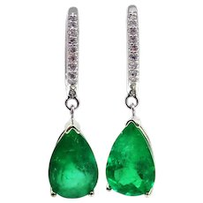 3.72CT Natural Colombian Emerald with Diamonds Earrings 14KT Gold