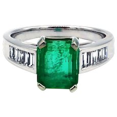 3.6CT Natural Colombian Emerald and Diamond 18KT White Gold Ring