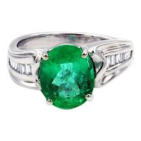 3.7CT Natural Colombian Emerald and Diamond Platinum Ring