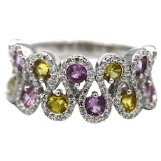 Bold Elegant Modern Natural Yellow and Pink Sapphire and Diamond Cocktail Ring 14KT Gold