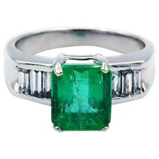 4.6CT Natural Colombian Emerald and Diamond 18KT White Gold Ring