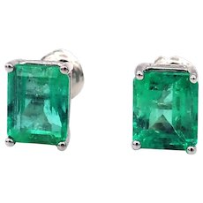 3.71CT Natural Colombian Emerald Earrings 14KT Gold