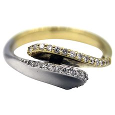 Amazing Natural Diamond Two-Tone Cocktail Ring in 14KT Yellow and White Gold