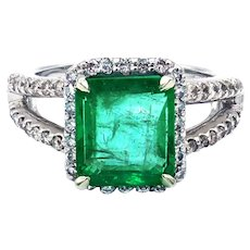 3.6CT Natural Colombian Emerald and Diamond 14KT White Gold Ring