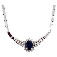 Modern Diamond and Blue Sapphire Necklace 14KT White Gold