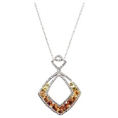 Gorgeous Diamond and Yellow Sapphire Necklace 14KT White Gold