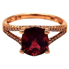Natural Padparadscha Tourmaline and Diamond Ring in 14 KT Rose Gold