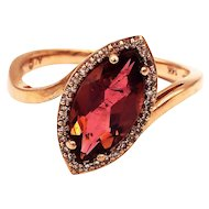 Rare Padparadscha Pink Tourmaline and Diamond Ring in 14 KT Rose Gold
