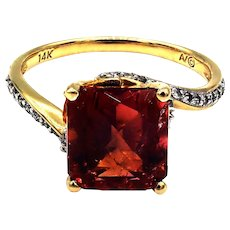 Rare Padparadscha Pink Tourmaline, Yellow Sapphire and Diamond Ring in 14 KT Yellow Gold