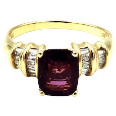 2.5 CT Amazing Natural Pink Spinel and Diamond Ring in 14KT Yellow Gold