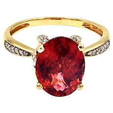 Rare Padparadscha Pink Tourmaline and Diamond Ring in 14 KT Yellow Gold