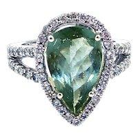 Rare Blue Paraiba Tourmaline and Diamond Ring in 14KT White Gold