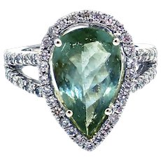 Rare Blue Paraiba Tourmaline and Diamond Ring in 14KT White Gold