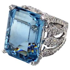 Amazing 27 CT Emerald Cut Aquamarine and Diamond Ring in 14KT White Gold