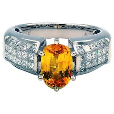 Gorgeous Yellow Sapphire and Invisible Set Diamond Ring in 18KT White Gold