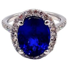 5.5 CT Royal Blue Natural Tanzanite and Diamond Ring in 14KT White gold