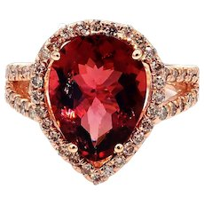 5CT Padparadscha Pink Tourmaline and Diamond Ring in 14 KT Rose Gold