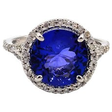 3.63 CT Royal Blue Natural Tanzanite and Diamond Ring in 14KT White gold