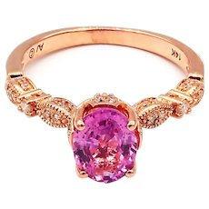 Elegant Natural Pink Sapphire and Diamond Ring 14KT Rose Gold