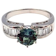Rare Paraiba Tourmaline and Diamond Ring in Platinum
