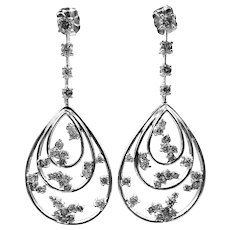 Unique Diamond Earrings 14KT White Gold