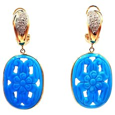 55CT Carved Natural Sleeping Beauty Turquoise and Diamond Earrings in 14KT Yellow Gold