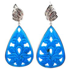108CT Carved Natural Sleeping Beauty Turquoise and Diamond Earrings in 14KT White Gold