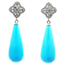 30CT Natural Sleeping Beauty Turquoise and Diamond Earrings in 14KT White Gold