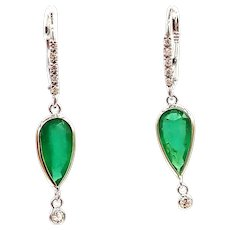 3.27CT Natural Colombian Emerald with Diamonds Earrings 14KT White Gold