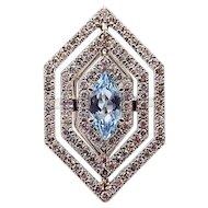 2CT Hexagon Aquamarine Diamond Cocktail Engagement Ring in 14KT White Gold