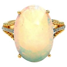 Unique Ethiopian Opal and Diamond Ring in 14KT Gold