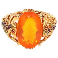Unique Fire Opal and Gemstone Mermaid Sea Creature Ring in 14KT Gold