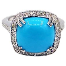 Sleeping Beauty Turquoise and Diamond Ring in 14KT White Gold