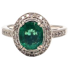 1.71CT Natural Colombian Emerald and Diamond 14KT White Gold Ring