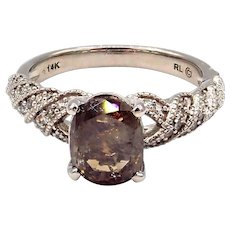 2CT Amazing Natural Cognac Diamond Cocktail Engagement Ring in 14KT White Gold