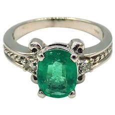 1.6CT Natural Colombian Emerald and Diamond 14KT White Gold Ring
