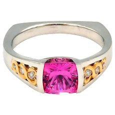 Elegant Natural Pink Sapphire and Diamond Ring 14KT White Gold and 22KT Yellow Gold