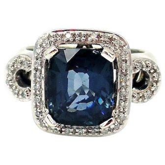 5.25CT Amazing Natural Blue Spinel and Diamond Ring in 14KT White Gold