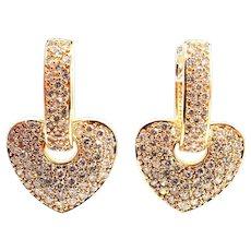 3 CT Diamond Earrings 14KT Yellow Gold Earrings