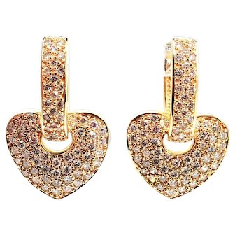 3 CT Diamond Earrings 14KT Yellow Gold Earrings