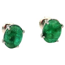 Natural Rose Cut Colombian Emerald Earrings 14KT Gold