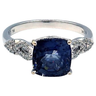 3.1CT Amazing Natural Blue Spinel and Diamond Ring in 14KT White Gold