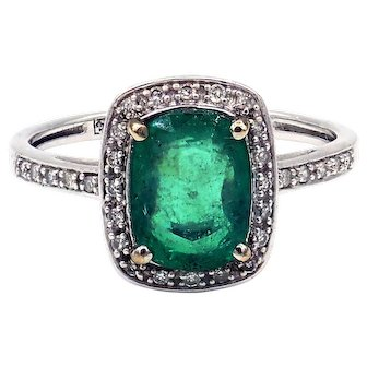 1.9CT Natural Colombian Emerald and Diamond 14KT White Gold Ring