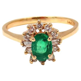 Natural Colombian Emerald and Diamond 14KT Yellow Gold Ring