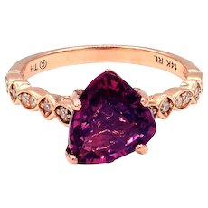 2.3 CT Amazing Natural Pink Spinel and Diamond Ring in 14KT Rose Gold