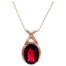 4.8CT Rubellite Pink Tourmaline Diamond Necklace in 14KT Rose Gold