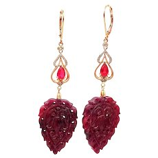 50CT Carved Natural Ruby and Diamond Earrings in 14KT Rose Gold