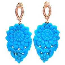 38CT Carved Natural Sleeping Beauty Turquoise and Diamond Earrings in 14KT Rose Gold
