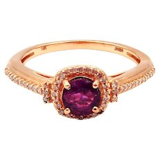 Elegant Natural Ruby and Diamond Ring in 14KT Rose Gold