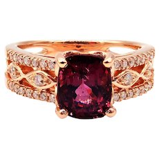 2.54 CT Amazing Natural Pink Spinel and Diamond Ring in 14KT Rose Gold